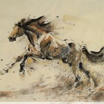 James Phua Chinese horse painting 瑞全中国水墨画马, The Forever Hero Secretariat (永恒的英雄 西格德烈) 97 x 180cm