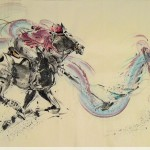 James Phua Chinese horse painting 瑞全中国水墨画马, The Dragon Mallet (勇士挥棒化真龙) 97 x 180cm