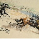 James Phua Chinese horse painting 瑞全中国水墨画马, From Brave To The Bravest (越战越勇 越冲越红) 97 x 180cm