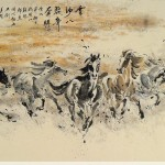 James Phua Chinese horse painting 瑞全中国水墨画马, Eight Horses In Golden Sand (金沙八骏齐奔腾) 97 x 180cm