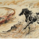James Phua Chinese horse painting 瑞全中国水墨画马, Run Neck And Neck (并驾齐驱) 97 x 180cm