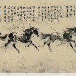 James Phua Chinese horse painting 瑞全中国水墨画马, Eight Paces Of Gallop (骏马八步曲) 62 x 248cm