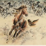 James Phua Chinese horse painting 瑞全中国水墨画马, Secretariat, King Of Horse (王者当先) 124 x 248cm