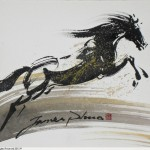 Horse Sketch with Chinese ink by James Phua, on A3 size paper. 水墨马速写,潘瑞全画。 Horse (马)29.5 x 42cm