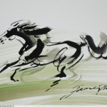 Horse Sketch with Chinese ink by James Phua, on A2 size paper. 水墨马速写,潘瑞全画。Horse (马)42 x 59cm