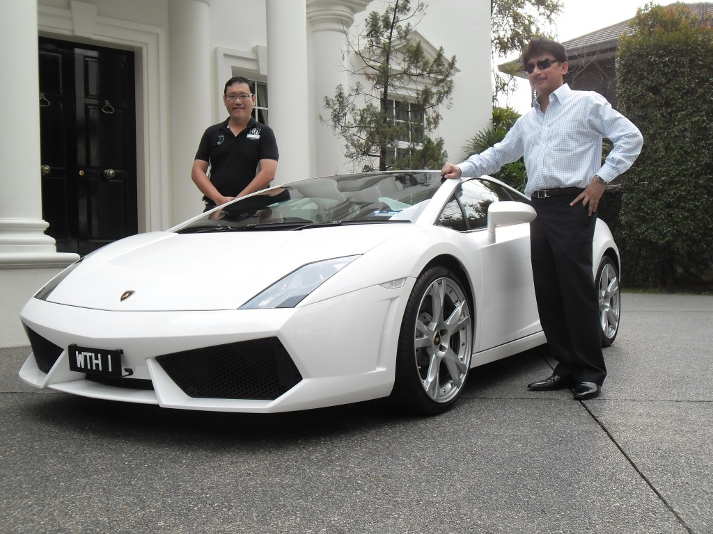 - I guess Tunku Laitham loves the color of white. His white Lamborghini matches his white bungalow very well.