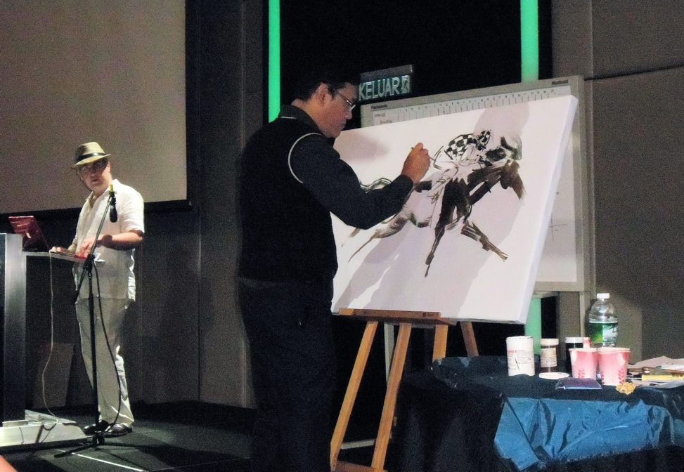 A live show of horse painting by internationally renowned artist James Phua at the Le Meridien Hotel Ballroom on 5th November 2013.