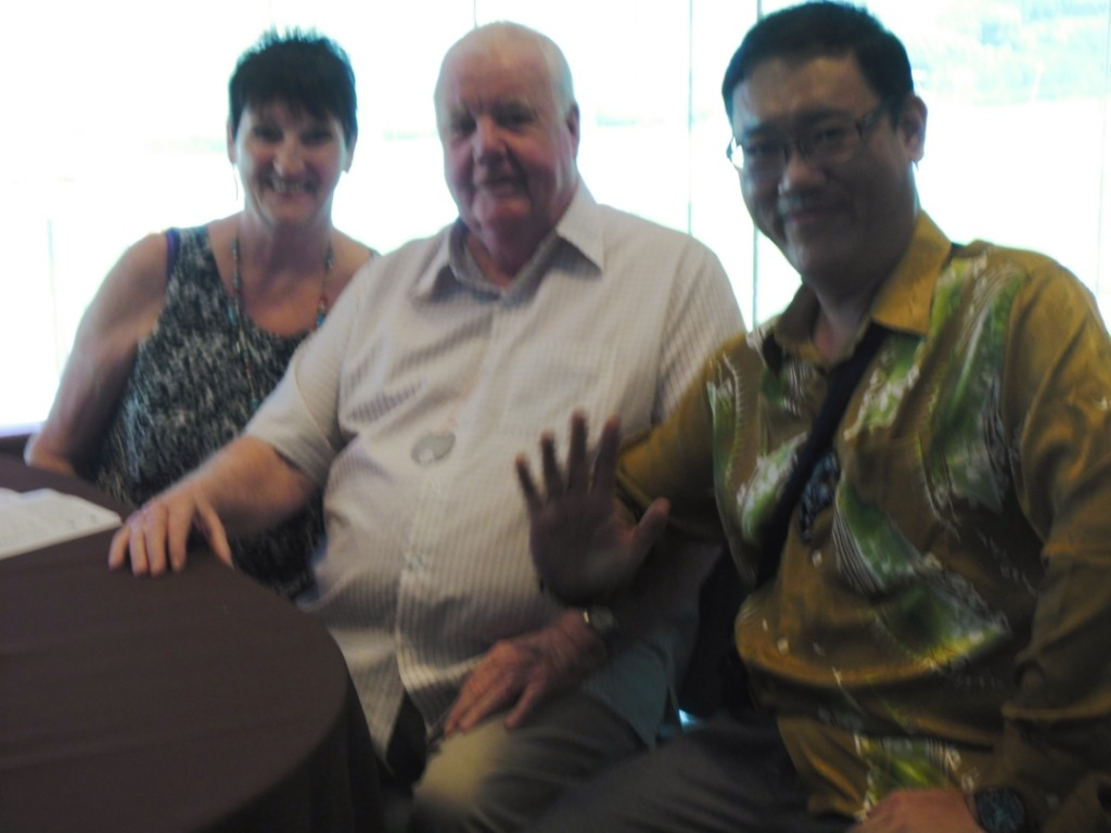 From left: Annetta, John Penrose (A retired entrepreneur owning a mining company in Australia.) and James Phua at Selangor Turf Club on 8 January 2014.