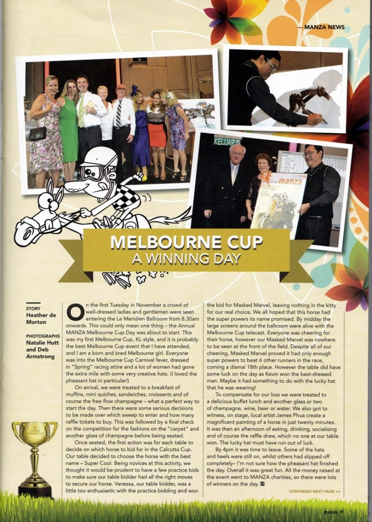 """MELBOURNE CUP A WINNING DAY: """"Local artist James Phua create a magnificent painting of a horse in just twenty minutes."""""""