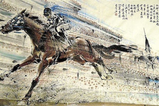 Strides ahead: Second to None, Secretariat (97cm x 180cm) by James Phua pays tribute to the greatest racehorse of the century, the American thoroughbred, Secretariat.