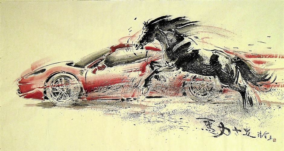 The Horse Power (97cm x 180cm) juxtaposes the horse and a race car.