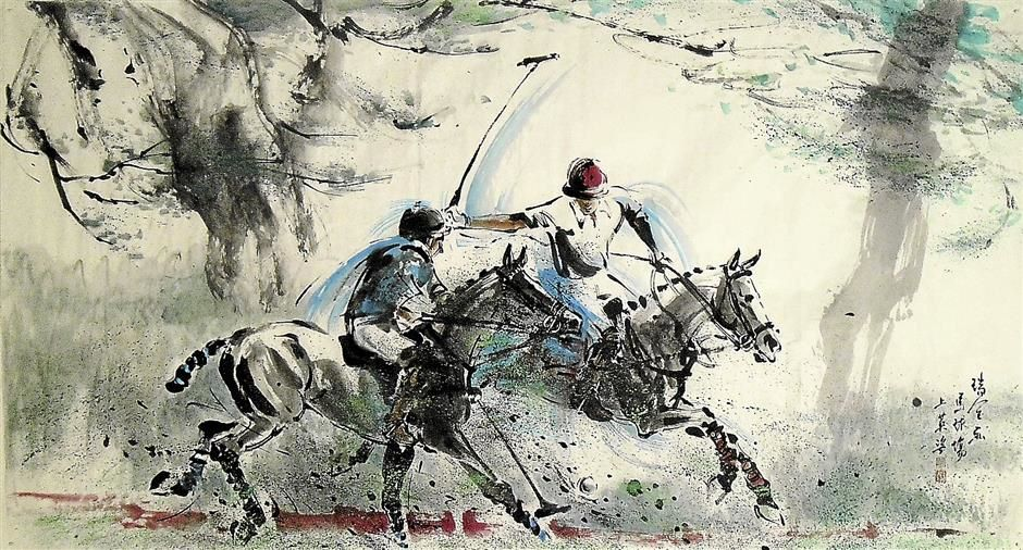 Polo (97cm x 181cm) is a painting depicting a game of polo, which Phua has taken keen interest in when it comes to his art.