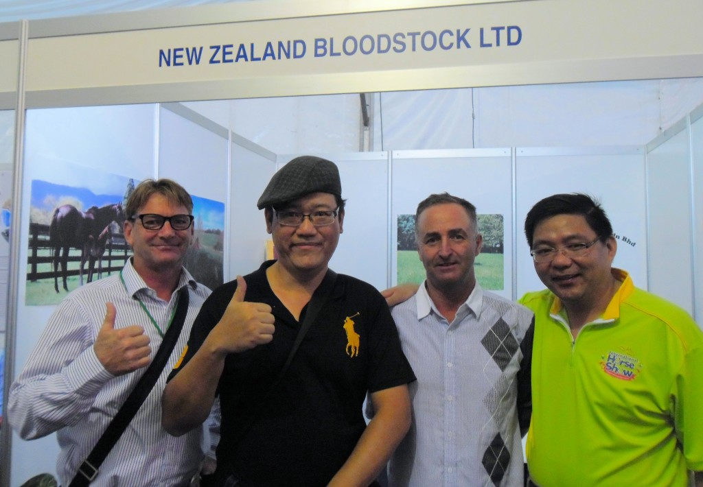 This is meaningful interaction during the occasion of the International Horse Show. From left: Mr. Term Boon Keng (General Manager of Selangor Turf Club), James Phua (Master of Horse Painting), Mike Kneebone (Director of Bloodstock and Sales –Asia) and  David R Miller (Australian Horse Trainer).